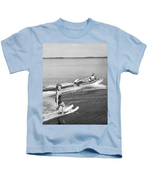 Woman Water Skiing Kids T-Shirt