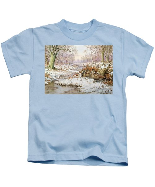 Woodcock Kids T-Shirt by Carl Donner