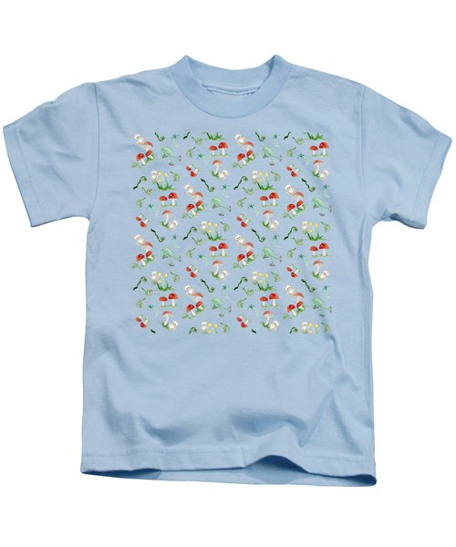 Woodland Fairy Tale - Red Mushrooms N Owls Kids T-Shirt
