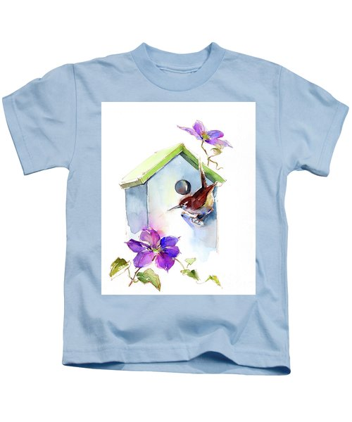 Wren With Birdhouse And Clematis Kids T-Shirt