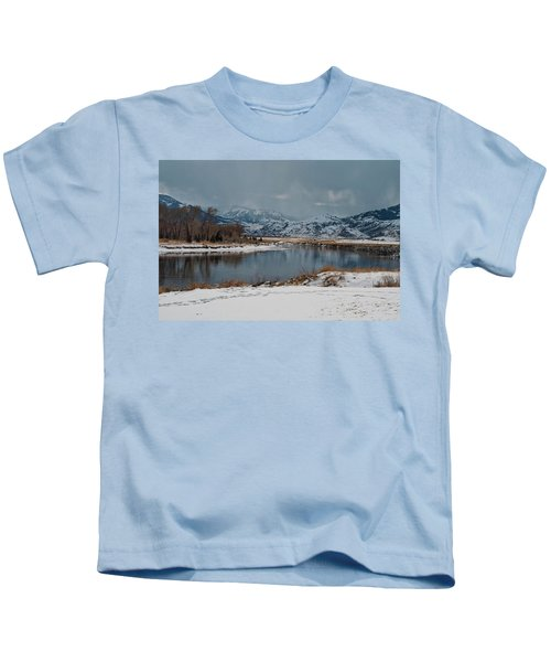 Yellowstone River In Light Snow Kids T-Shirt