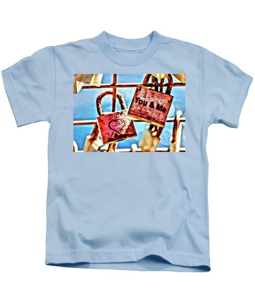 Kids T-Shirt featuring the painting You And Me by Marian Palucci-Lonzetta