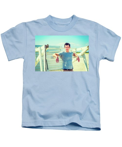 Young Man Relaxing On The Beach Kids T-Shirt