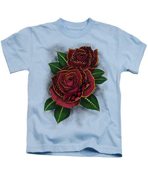 Zentangle Tattoo Rose Colored Kids T-Shirt