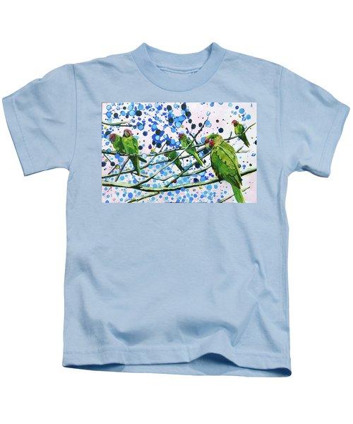 Blue Dot Parakeets Kids T-Shirt