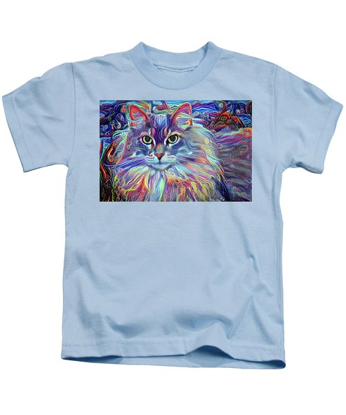 Colorful Long Haired Cat Art Kids T-Shirt