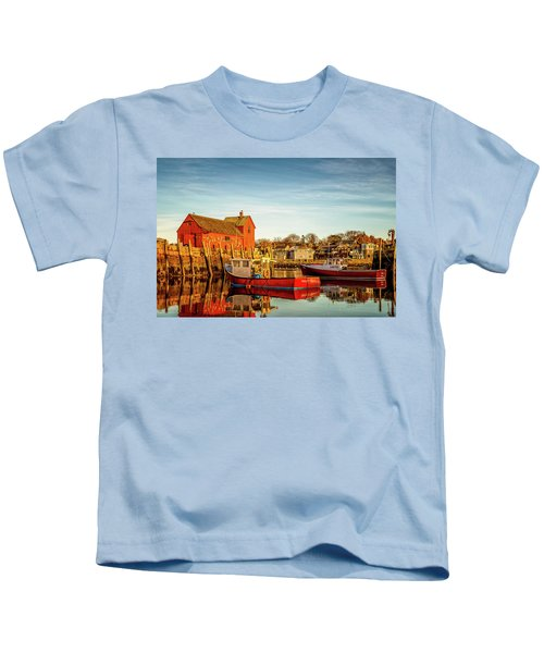 Low Tide And Lobster Boats At Motif #1 Kids T-Shirt