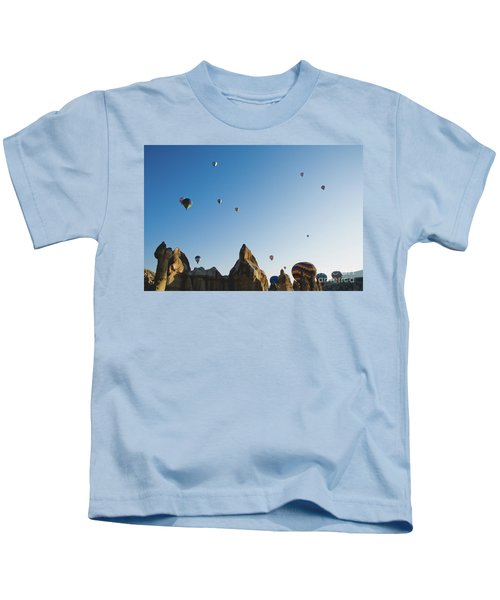 Colorful Balloons Flying Over Mountains And With Blue Sky Kids T-Shirt