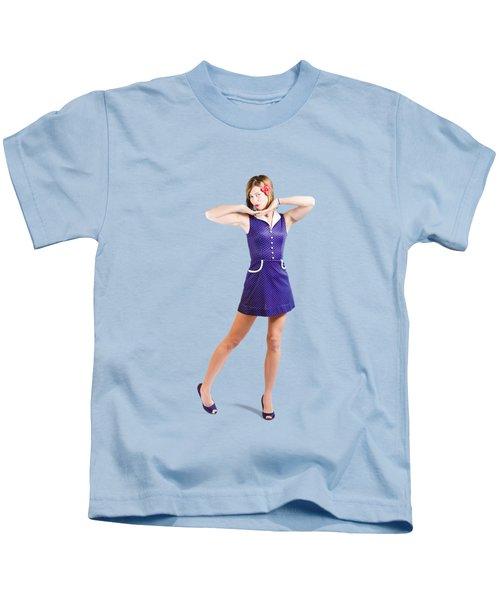 50s Pin-up Girl In Retro Purple Polka Dot Dress Kids T-Shirt