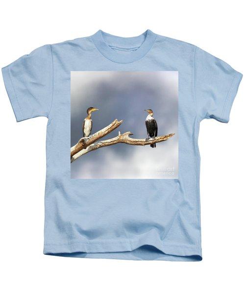 Adult And Juvenile Cormorants At Lake Naivasha Kids T-Shirt