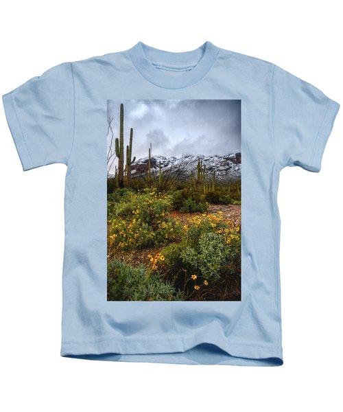Arizona Flowers And Snow Kids T-Shirt