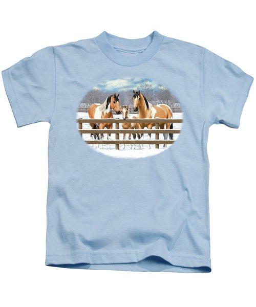 Buckskin Paint Horses In Snow Kids T-Shirt