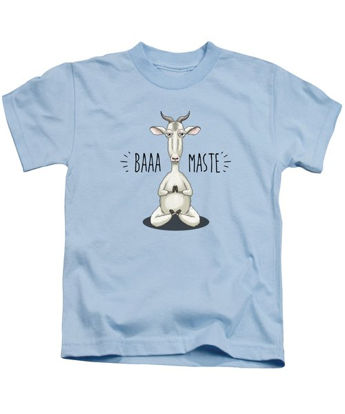 Baaa-maste - Namaste Meditating Goat Kids T-Shirt