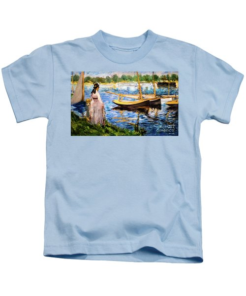 Banks Of The Seine At Argenteuil Kids T-Shirt