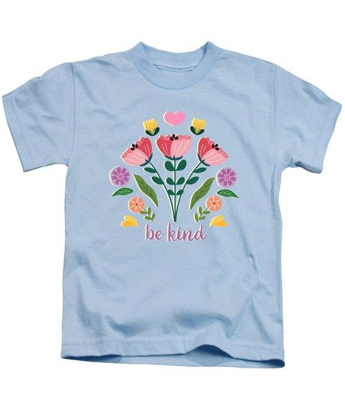 Be Kind Folk Art Bouquet Kids T-Shirt