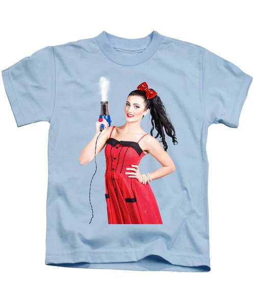 Beauty Style Portrait Of A Elegant Hairdryer Woman Kids T-Shirt