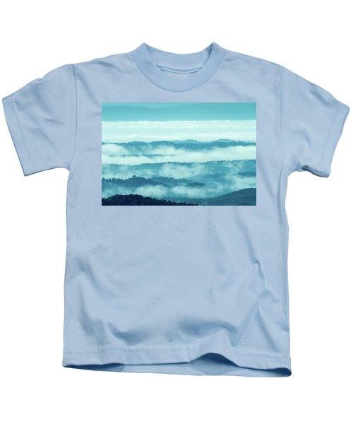 Blue Ridge Mountains Layers Upon Layers In Fog Kids T-Shirt