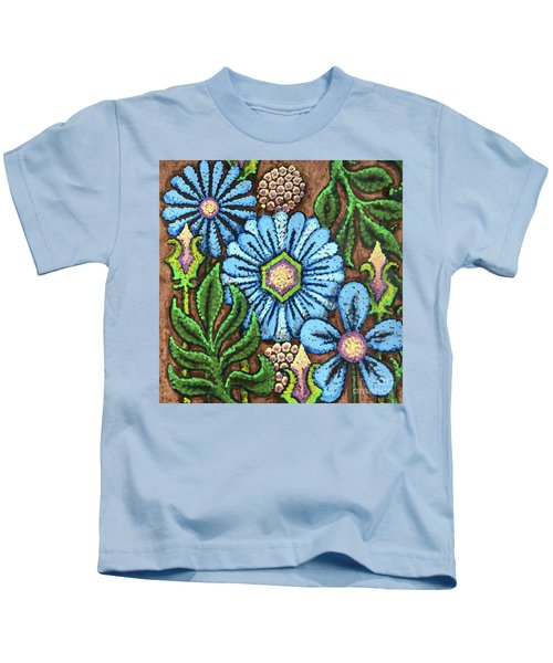 Brown And Blue Floral 1 Kids T-Shirt