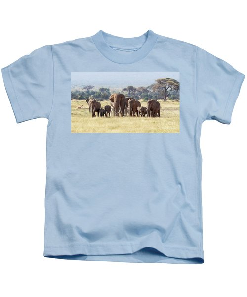 Bull Elephant With A Herd Of Females And Babies In Amboseli, Kenya Kids T-Shirt
