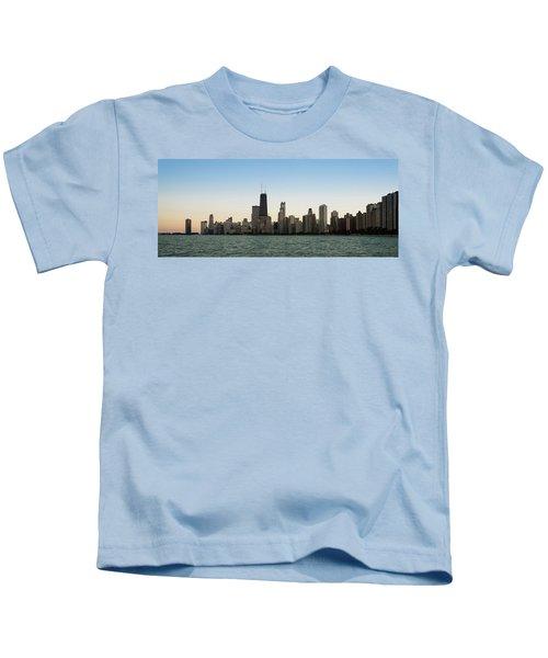 Chicago Skyline Sundown Panorama Kids T-Shirt