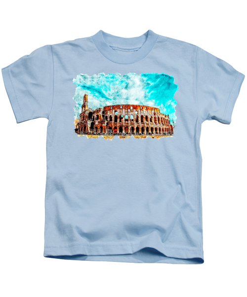 Cityscape Watercolor Drawing - Amphitheater Ancient Arches Kids T-Shirt