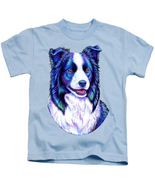 Colorful Border Collie Dog Kids T-Shirt