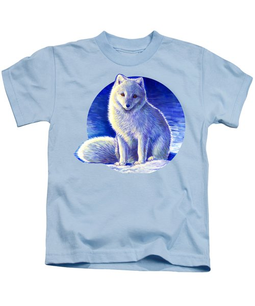 Colorful Winter Arctic Fox Kids T-Shirt
