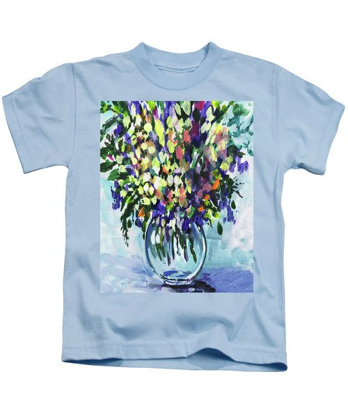 Country Flowers Bouquet Floral Impressionism  Kids T-Shirt