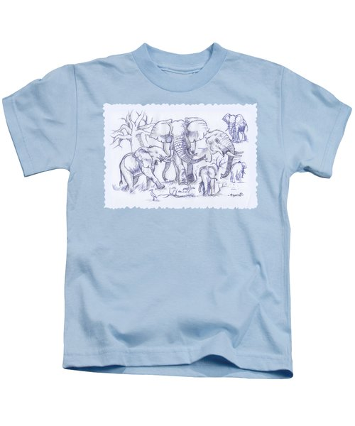 Elephant And Cattle Egrets Sketches Kids T-Shirt
