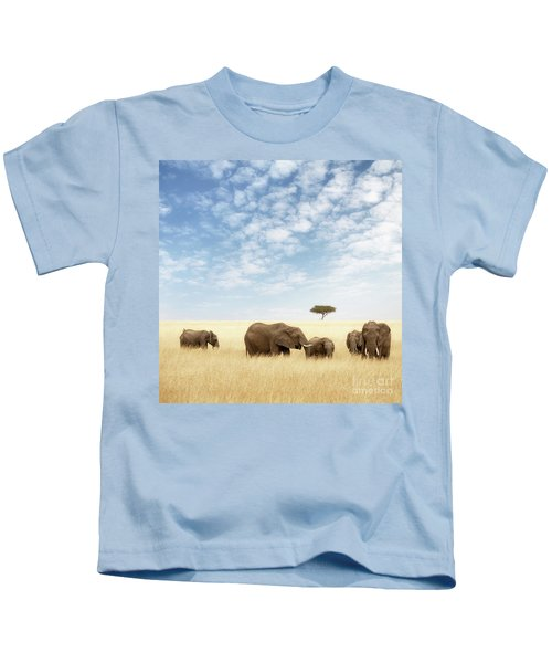 Elephant Group In The Grassland Of The Masai Mara Kids T-Shirt