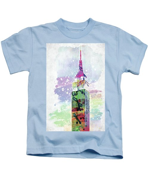 Empire State Building Colorful Watercolor Kids T-Shirt