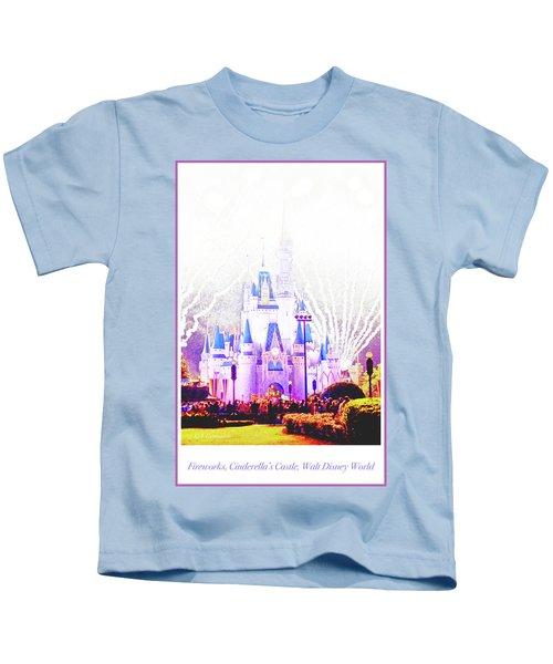 Fireworks, Cinderella's Castle, Magic Kingdom, Walt Disney World Kids T-Shirt