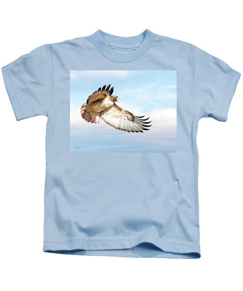 Flying Red-tailed Hawk Kids T-Shirt
