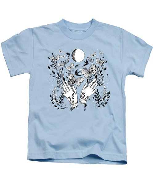 Full Moon Magic Of Nature With Blackbirds And Butterflies Kids T-Shirt
