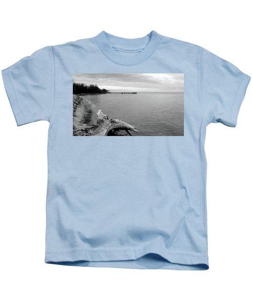 Gray Day On The Bay Kids T-Shirt