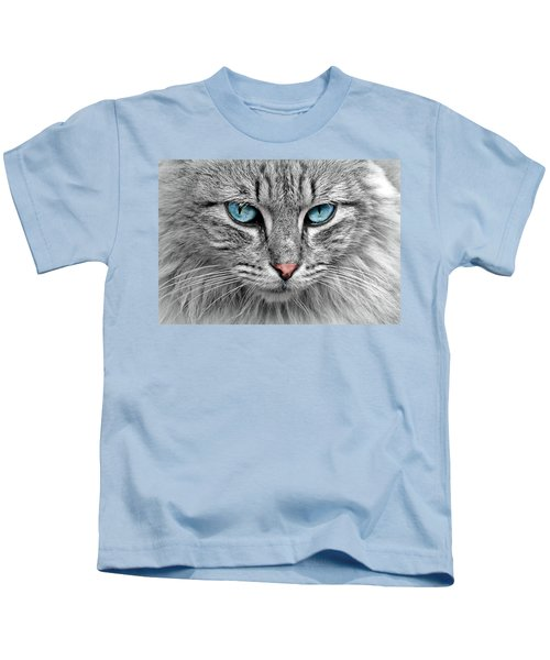 Grey Cat With Blue Eyes Kids T-Shirt