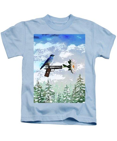 Bluebird Of Happiness- Flower In A Gun Kids T-Shirt