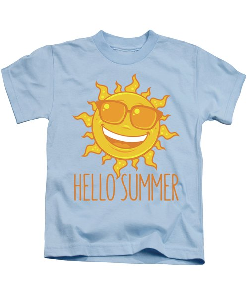 Hello Summer Sun With Sunglasses Kids T-Shirt