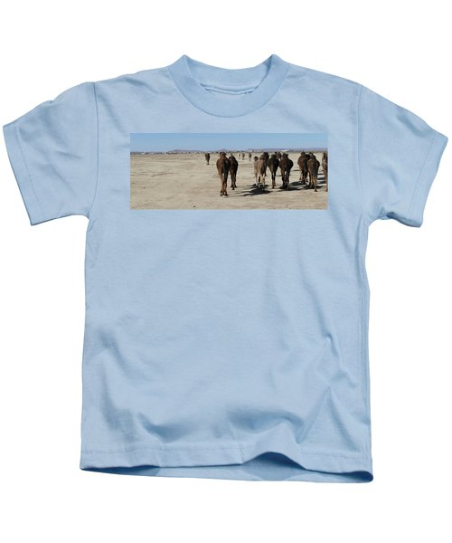 Herd Of Camels Crossing The Highway Near  Rissani Kids T-Shirt