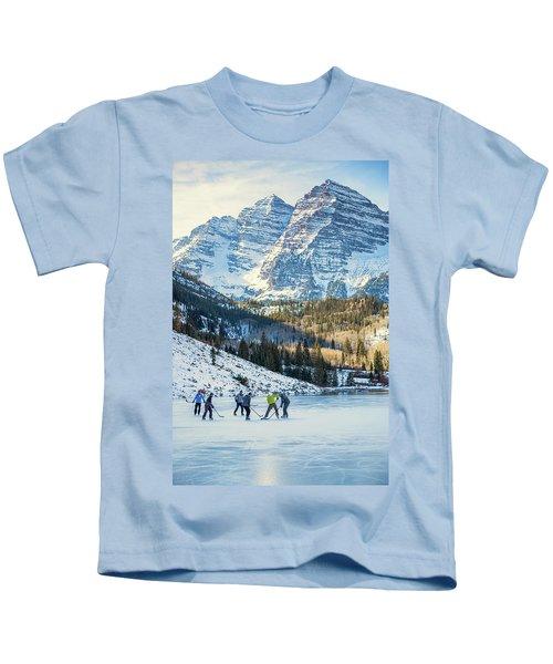 Hockey On Maroon Lake Maroon Bells Aspen Colorado Kids T-Shirt