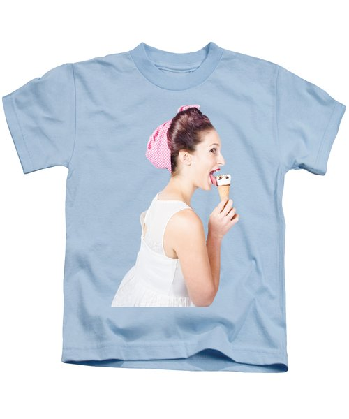 Isolated Pinup Girl With Ice Cream In Studio  Kids T-Shirt