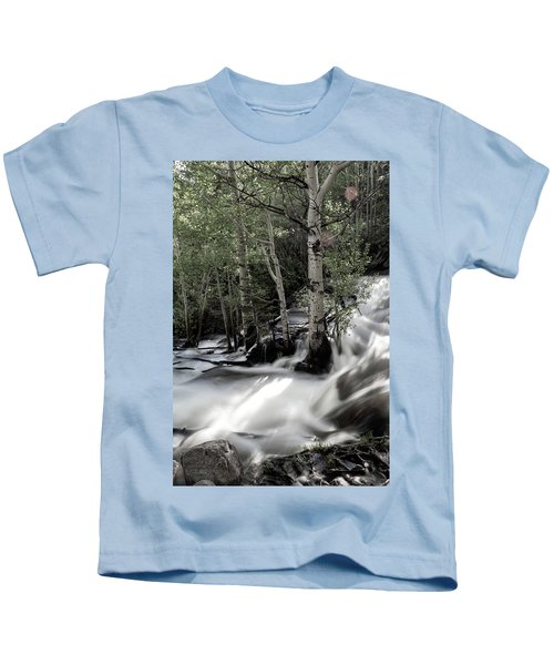 Long Exposure Shot Of A Mountain Stream Kids T-Shirt