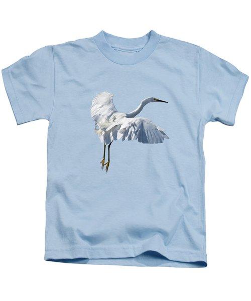 Majestic Looking Snowy Egret Kids T-Shirt
