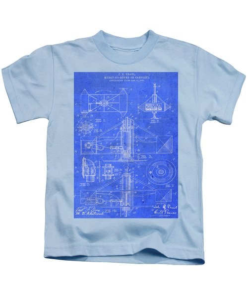 Merry Go Round Amusement Carousel Vintage Patent Blueprint Kids T-Shirt