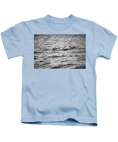Mother Dolphin And Calf Swimming In Moreton Bay. Black And White Kids T-Shirt