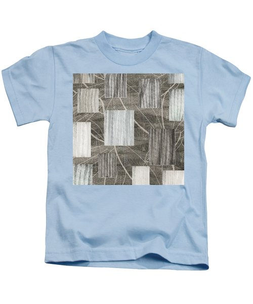 Neutral Leaf Print Squares Cream Kids T-Shirt