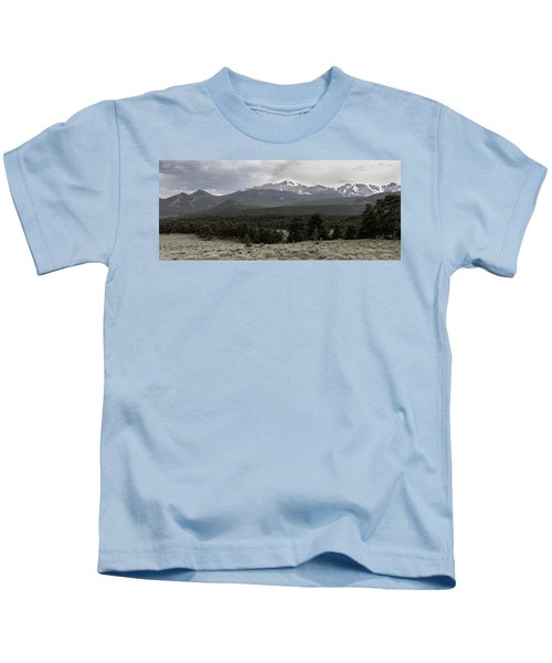 panoramic view of Rocky Mountains Kids T-Shirt