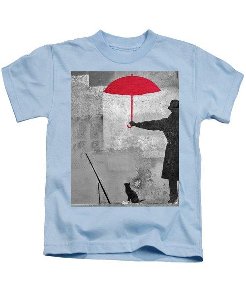 Kids T-Shirt featuring the photograph Paris Graffiti Man With Red Umbrella by Gigi Ebert