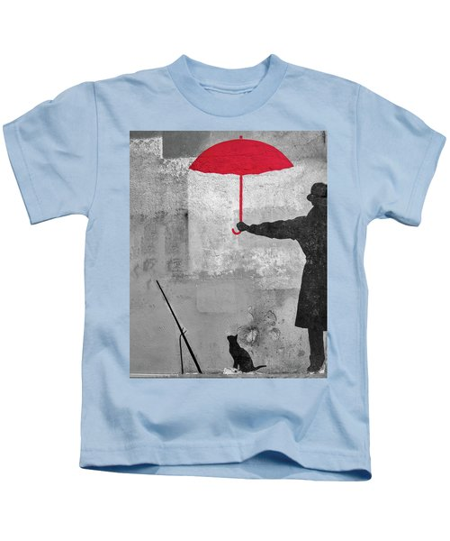 Paris Graffiti Man With Red Umbrella Kids T-Shirt