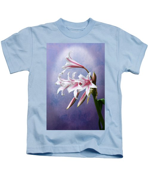 Pink Striped White Lily Flowers Kids T-Shirt